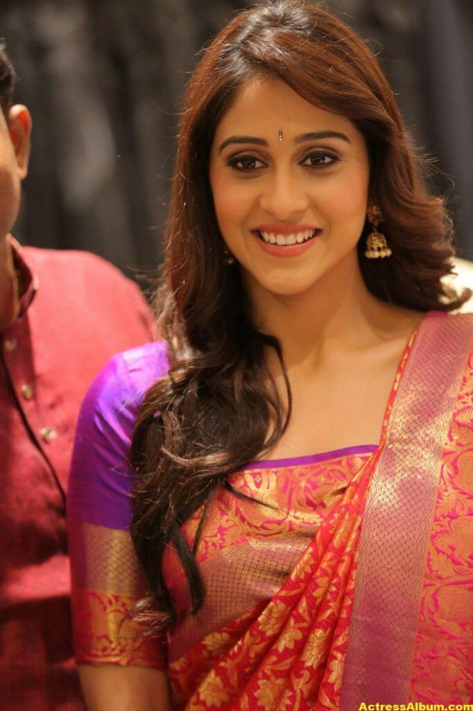 Regina Cassandra At Shopping Mall Launch In Red Saree 3