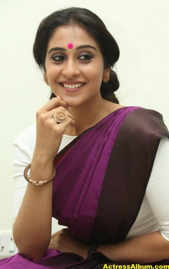 Regina Cassandra Latest Stills In Violet Saree 1
