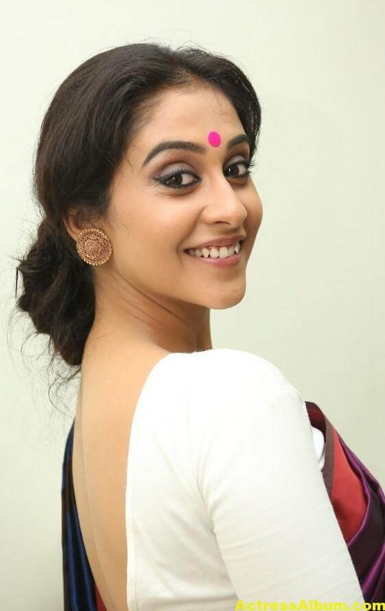 Regina Cassandra Latest Stills In Violet Saree 2