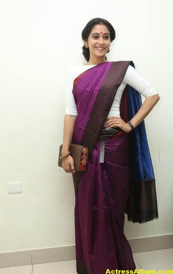 Regina Cassandra Latest Stills In Violet Saree 3