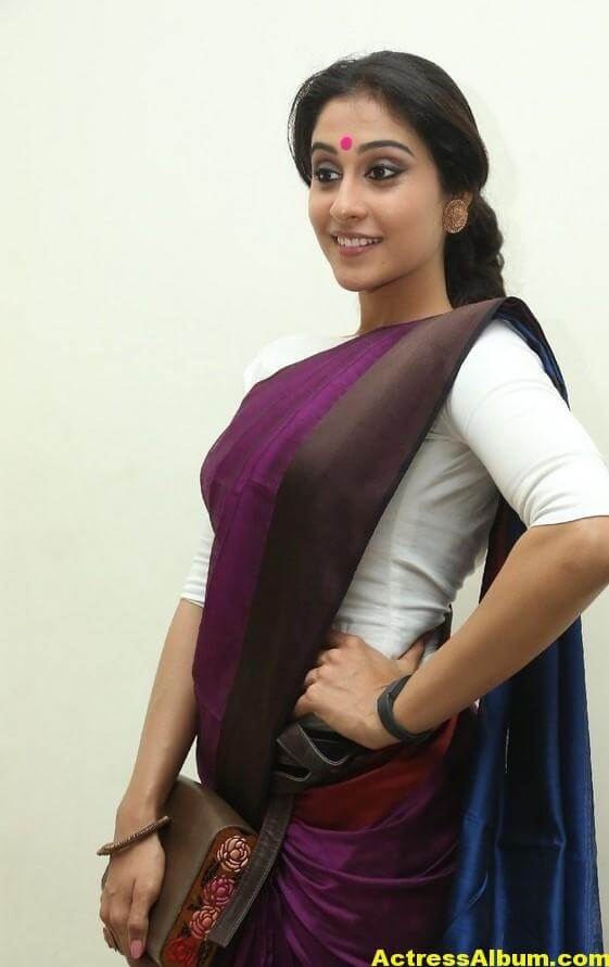 Regina Cassandra Latest Stills In Violet Saree 5