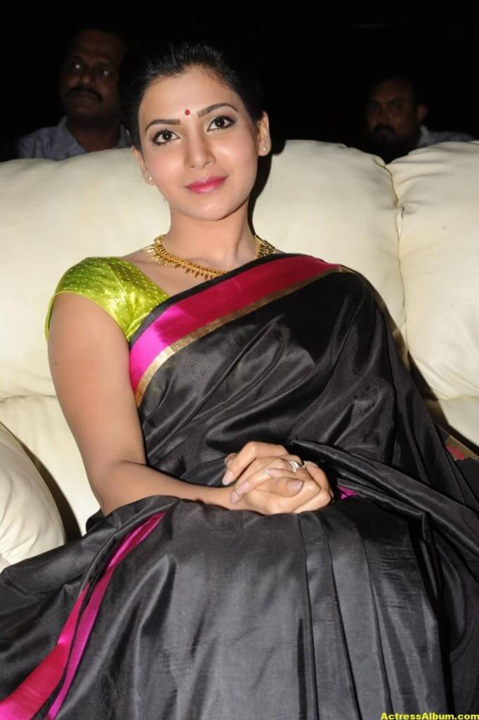 Samantha Photos Black Saree At Channel Launch 1