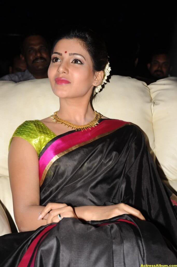 Samantha Photos Black Saree At Channel Launch 2