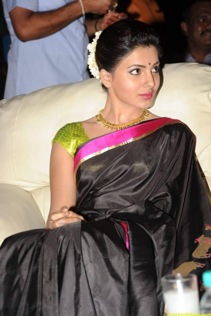 Samantha Photos Black Saree At Channel Launch 3