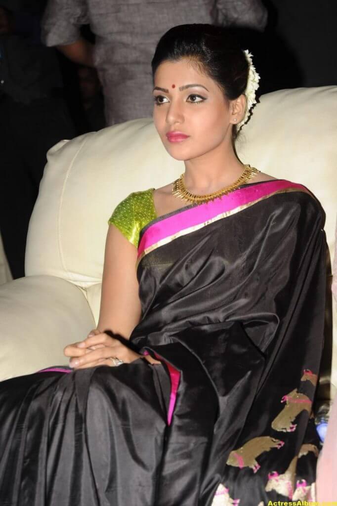 Samantha Photos Black Saree At Channel Launch 4