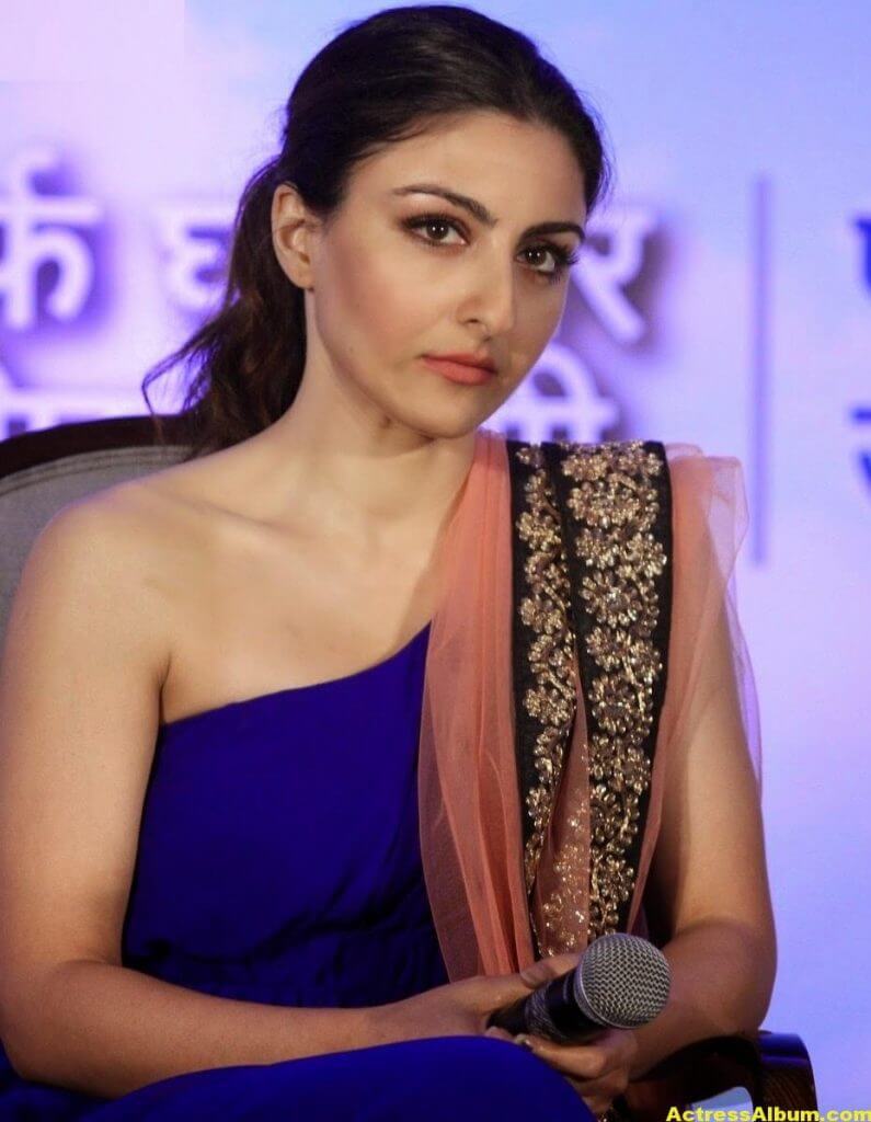 Soha Ali Khan Hot Stills In Blue Dress 3