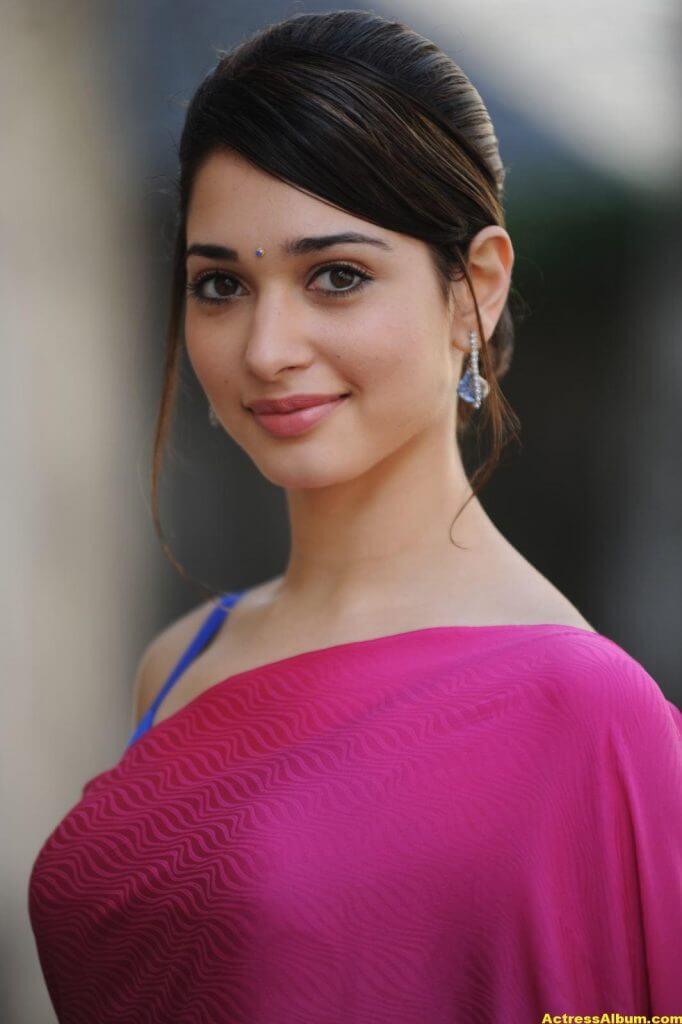 Tamanna Hot Photos In Pink Saree 2