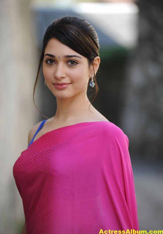Tamanna Hot Photos In Pink Saree 3
