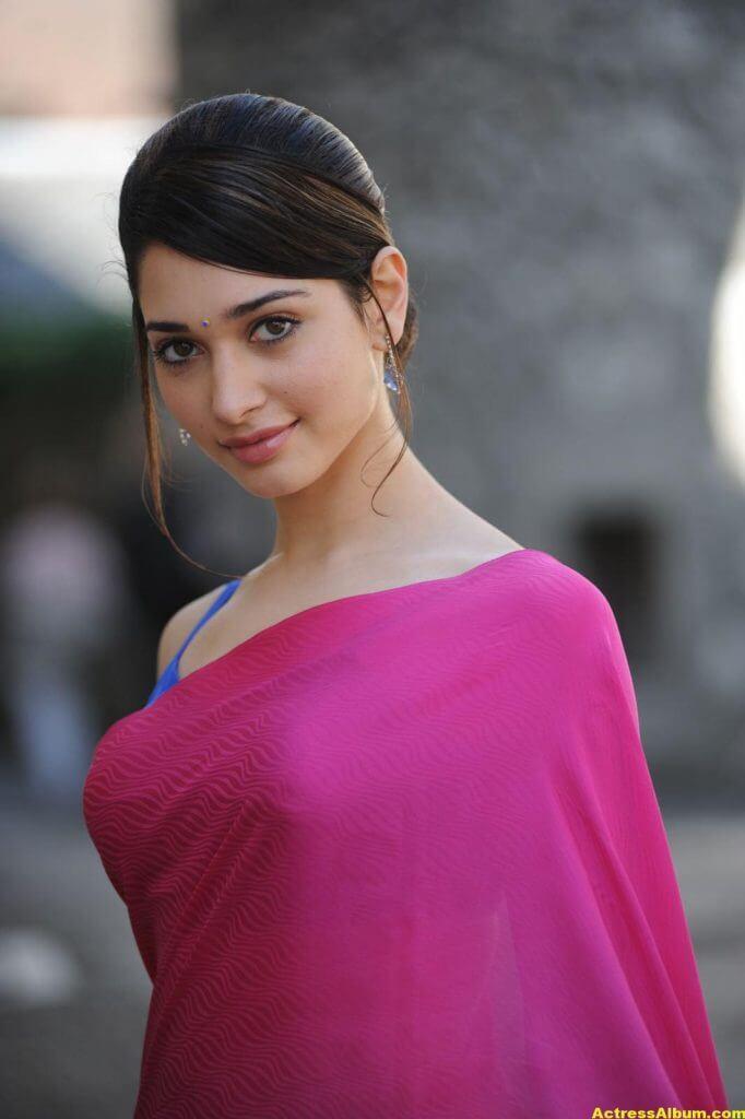 Tamanna Hot Photos In Pink Saree 4