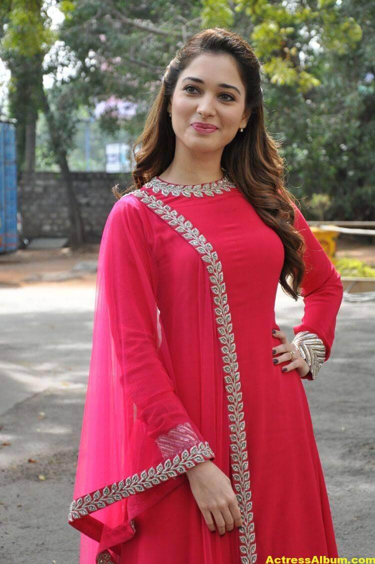 Tamanna Stills In Pink Dress