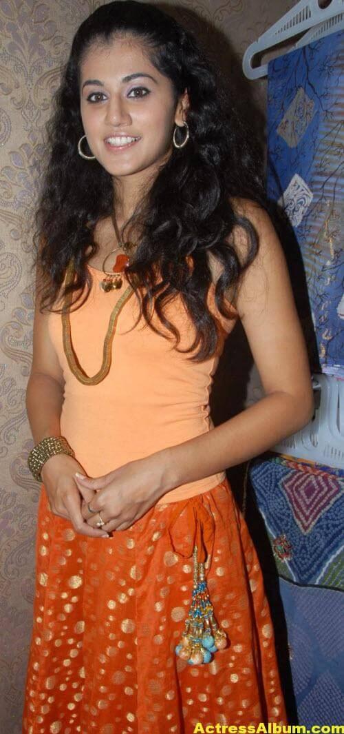 Tapsee Pannu Photos In Cute Orange Dress 1