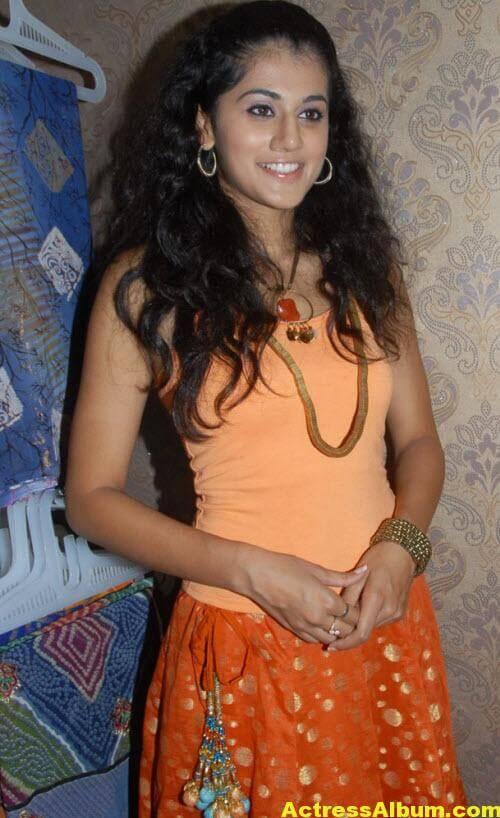 Tapsee Pannu Photos In Cute Orange Dress 2