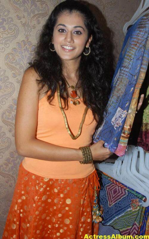 Tapsee Pannu Photos In Cute Orange Dress 3