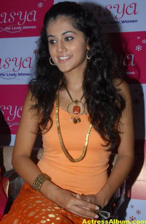 Tapsee Pannu Photos In Cute Orange Dress 4