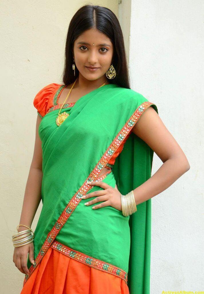 Ulka Gupta Photos In Traditional Green Half Saree (1)