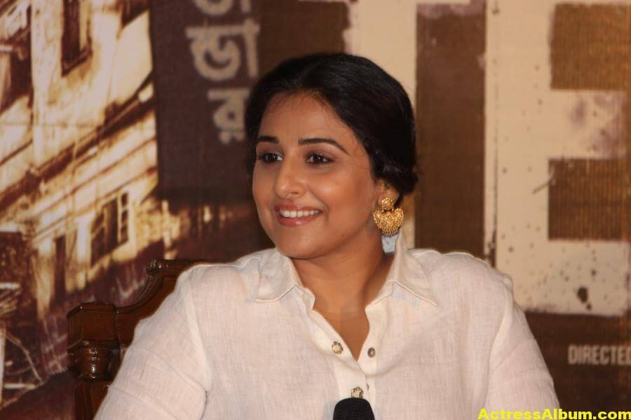Vidya Balan Smiling Photos In White Dress