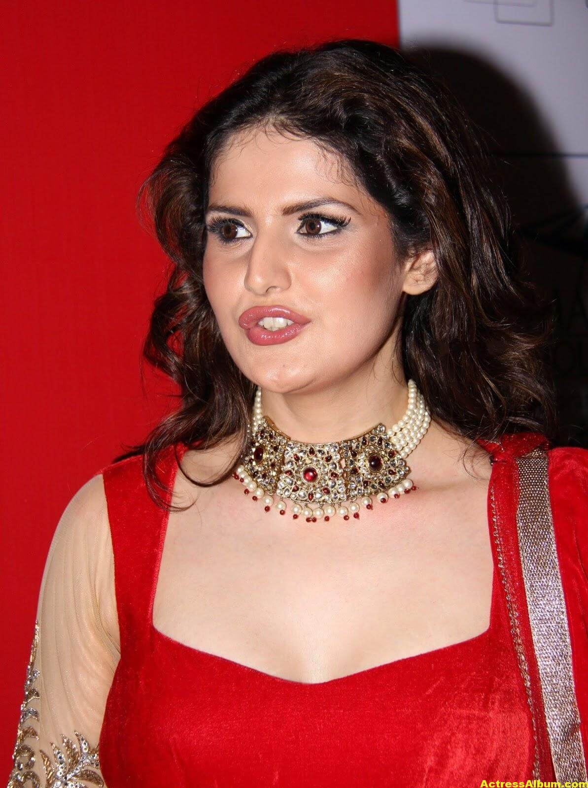Zarine Khan Hot Photoshoot In Red Dress 1