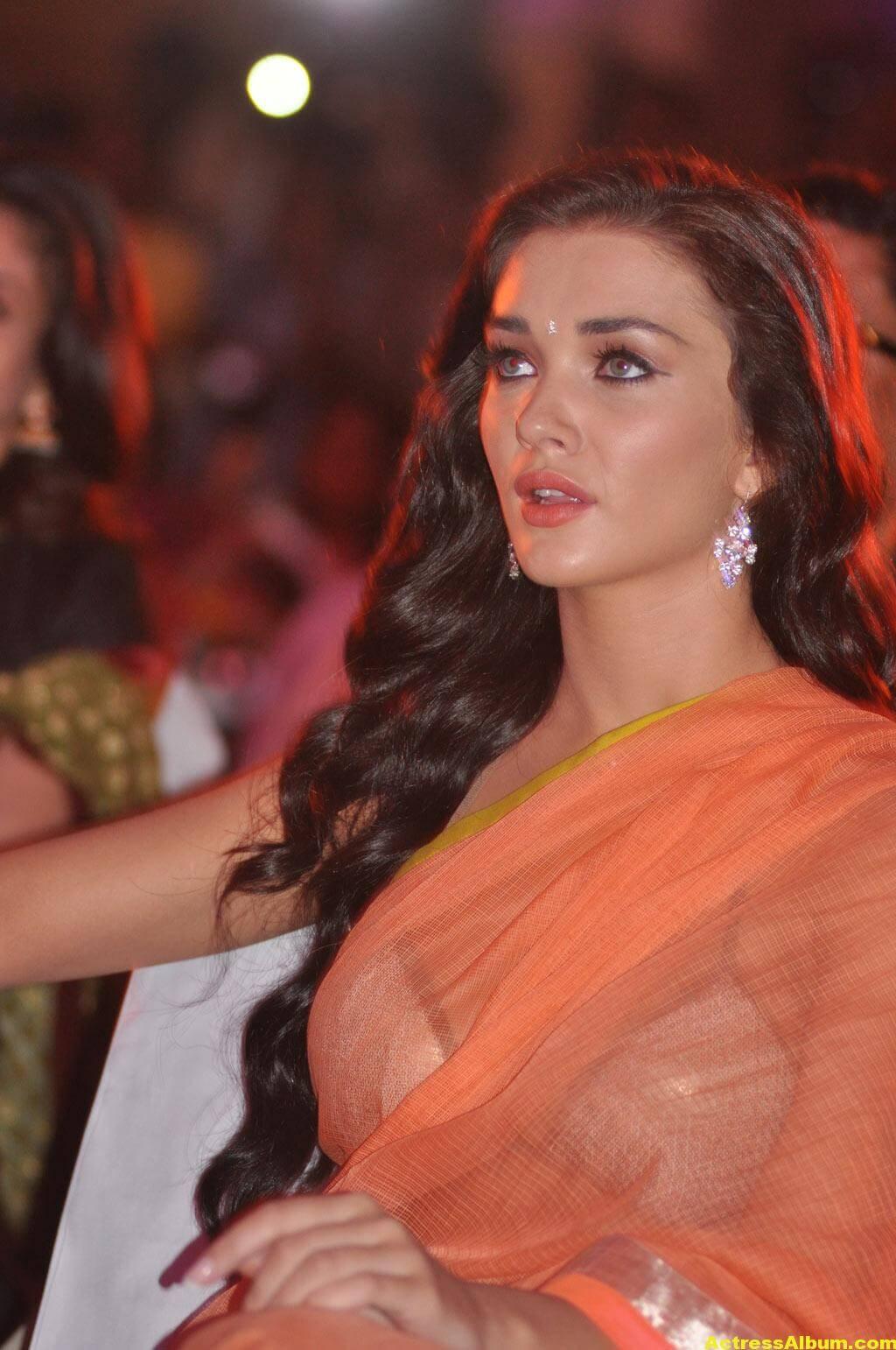 Actress Amy Jackson Hot In Orange Saree 1