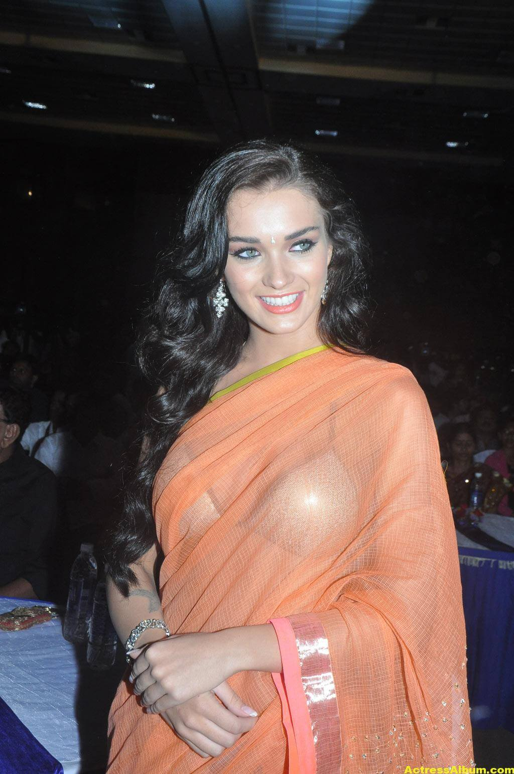 Actress Amy Jackson Hot In Orange Saree 2