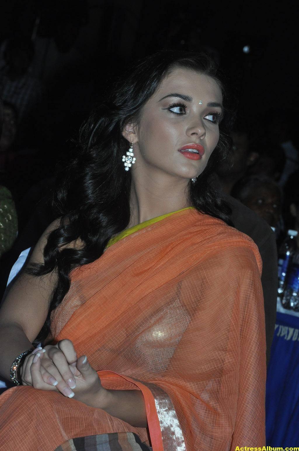 Actress Amy Jackson Hot In Orange Saree 3