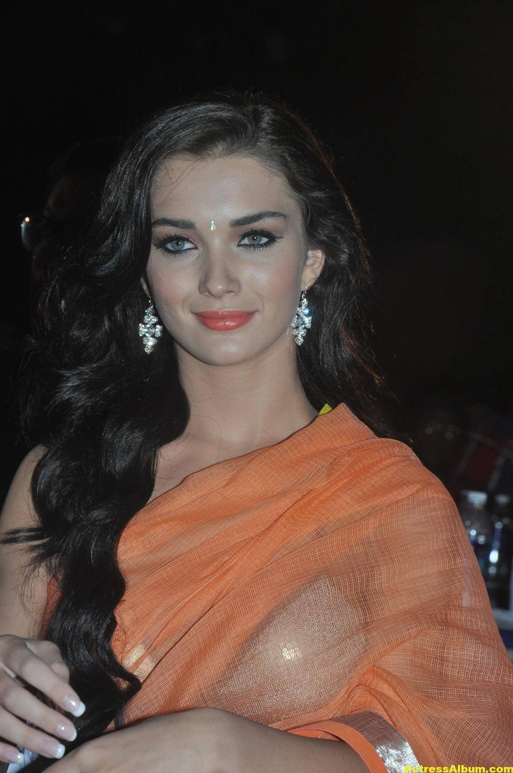 Actress Amy Jackson Hot In Orange Saree 4