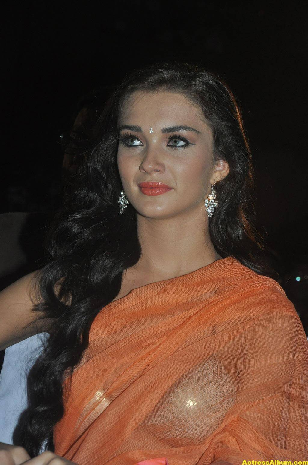 Actress Amy Jackson Hot In Orange Saree 5