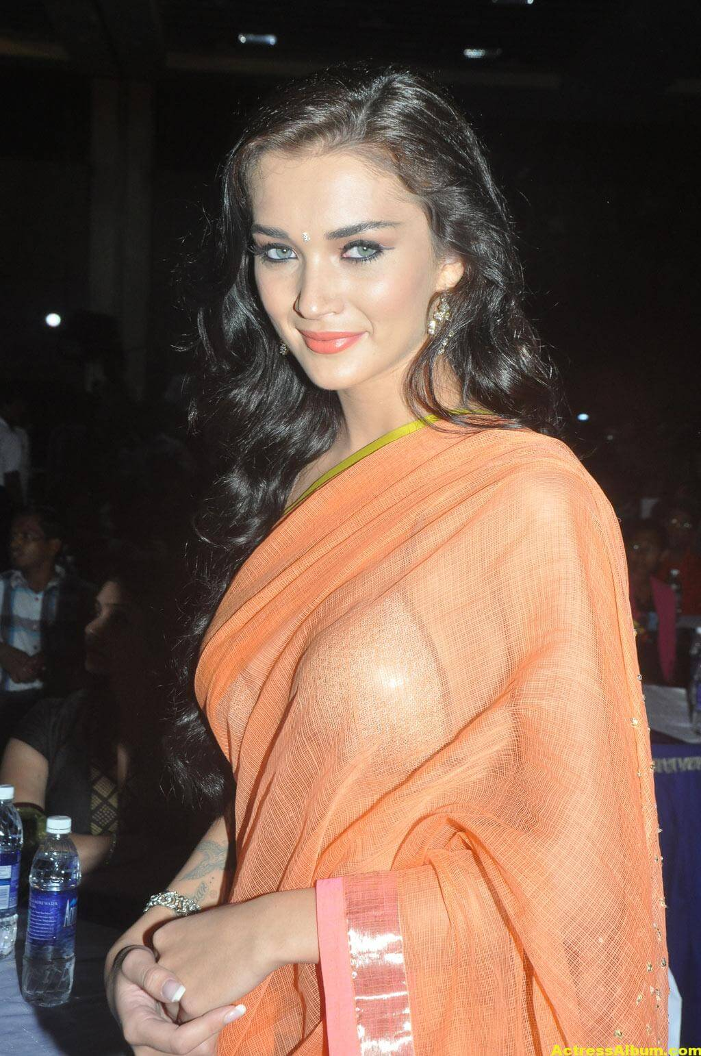 Actress Amy Jackson Hot In Orange Saree 7
