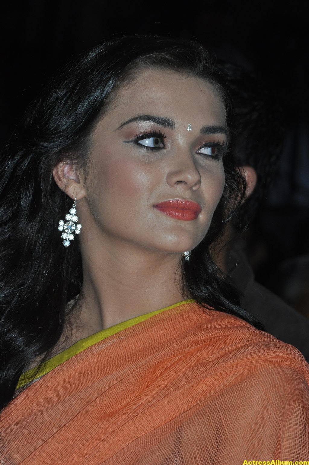 Actress Amy Jackson Hot In Orange Saree 8