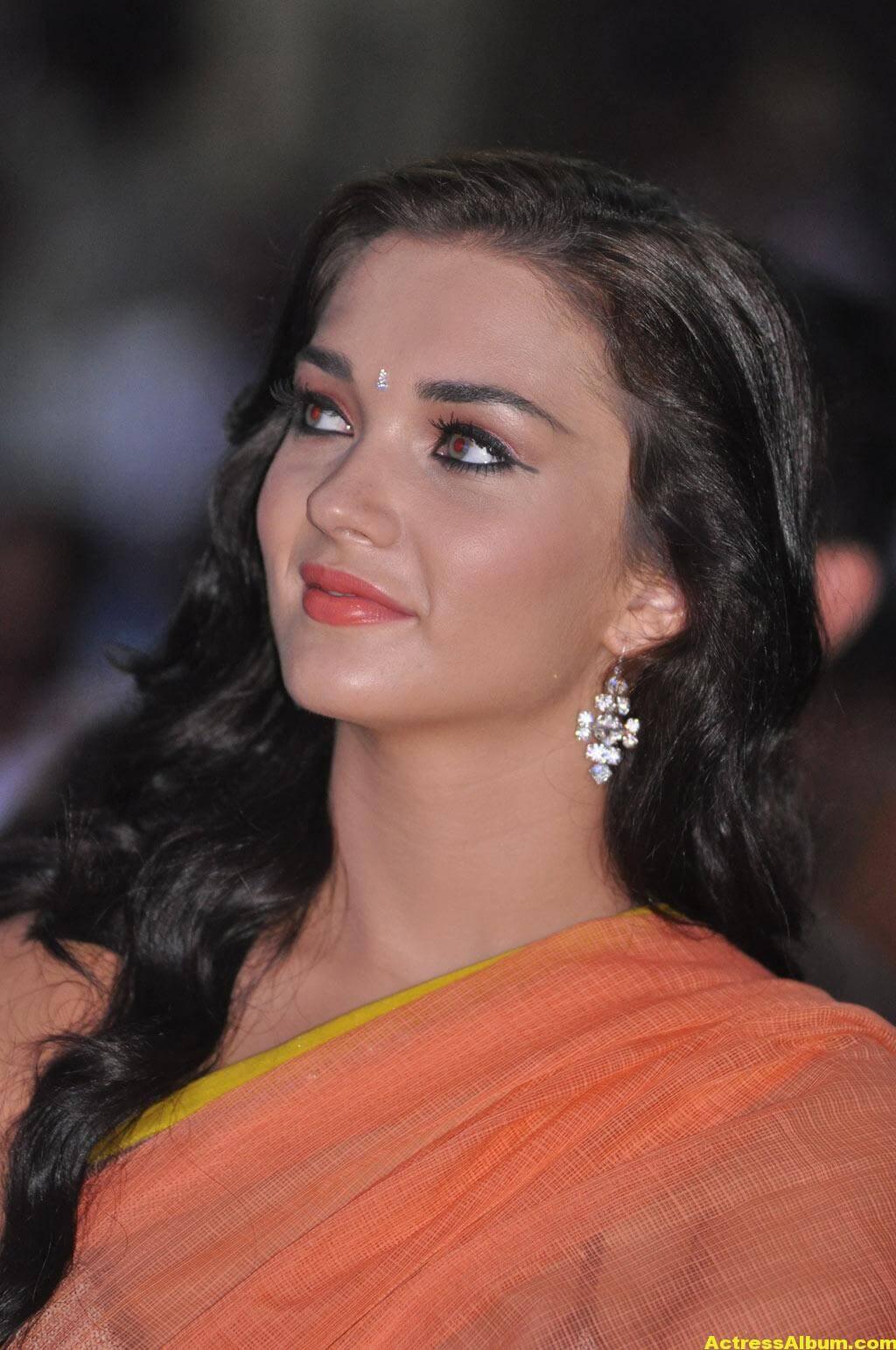 Actress Amy Jackson Hot In Orange Saree 9