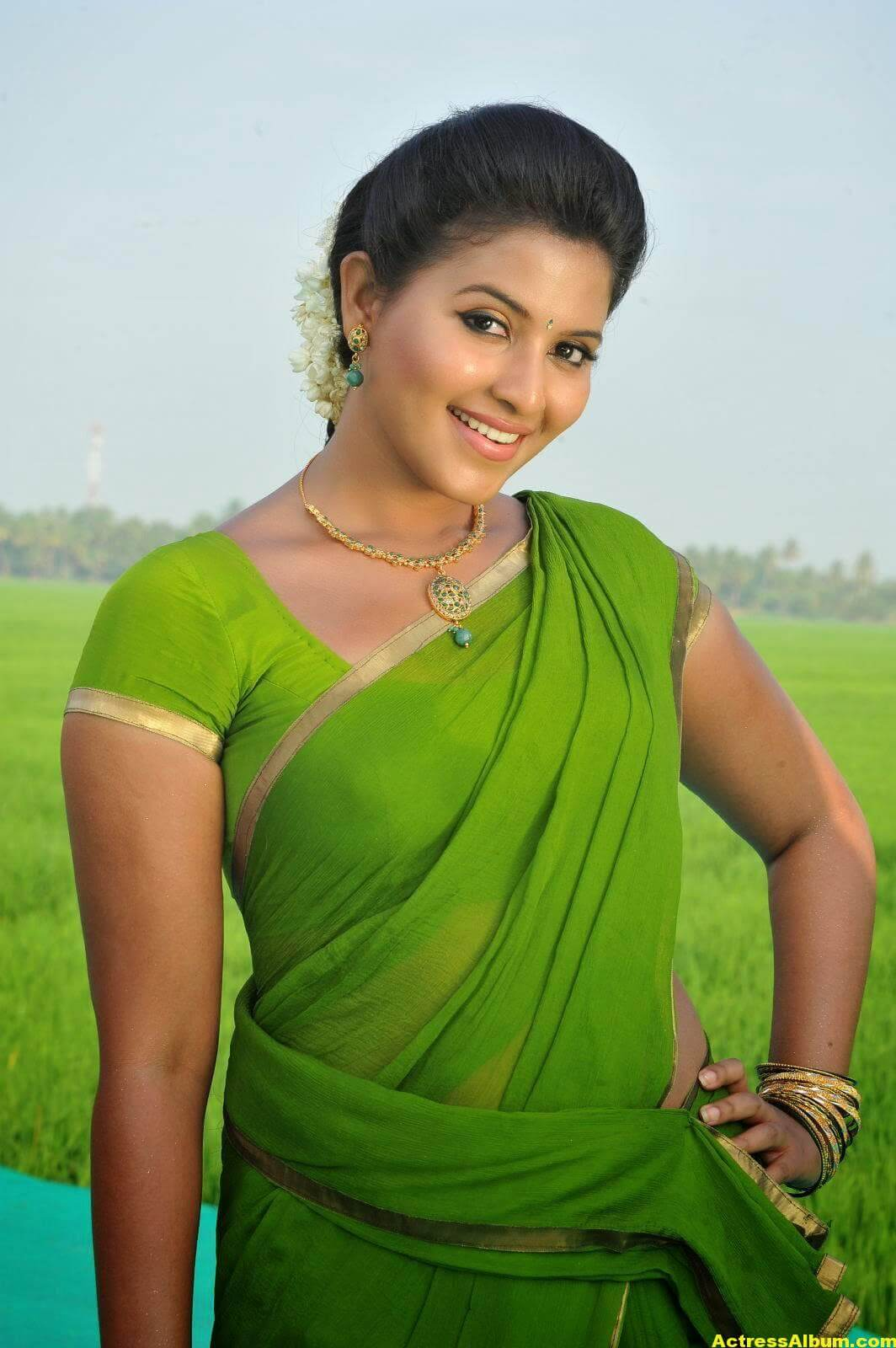 Anjali Cute Photos Stills In Spicy Green Saree 4