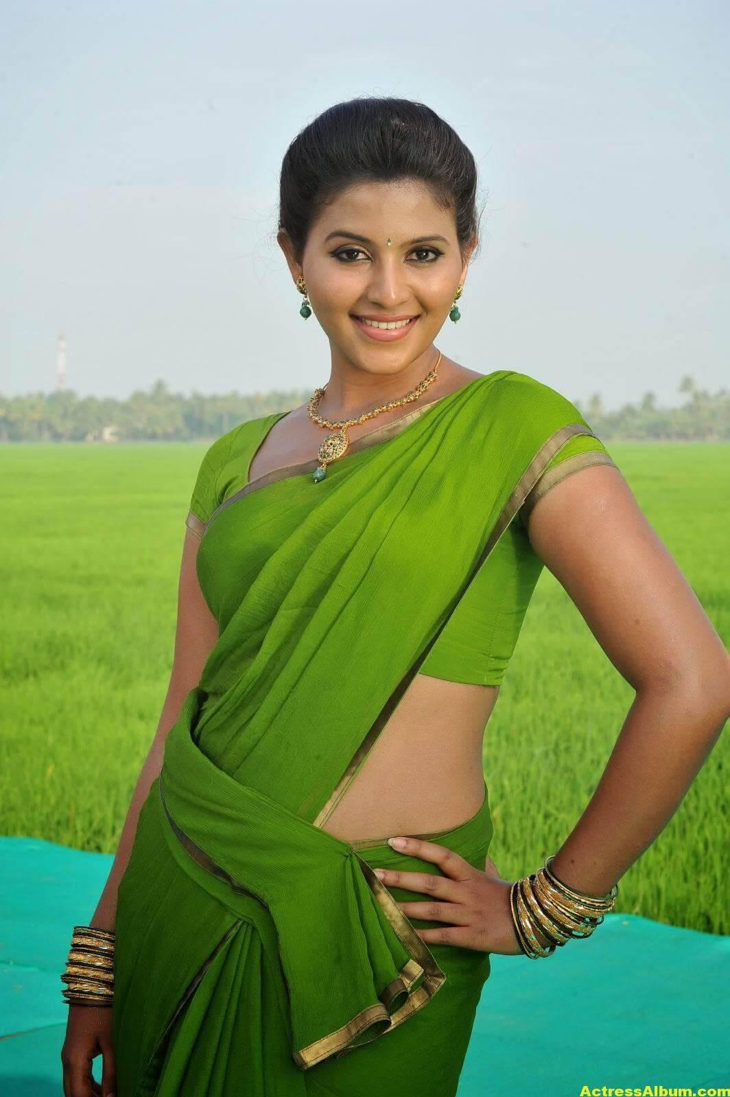 Anjali Cute Photos Stills In Spicy Green Saree 5