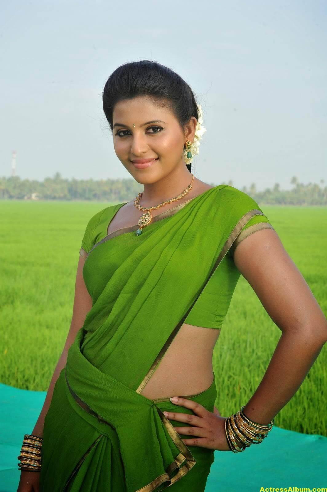 Anjali Cute Photos Stills In Spicy Green Saree 6