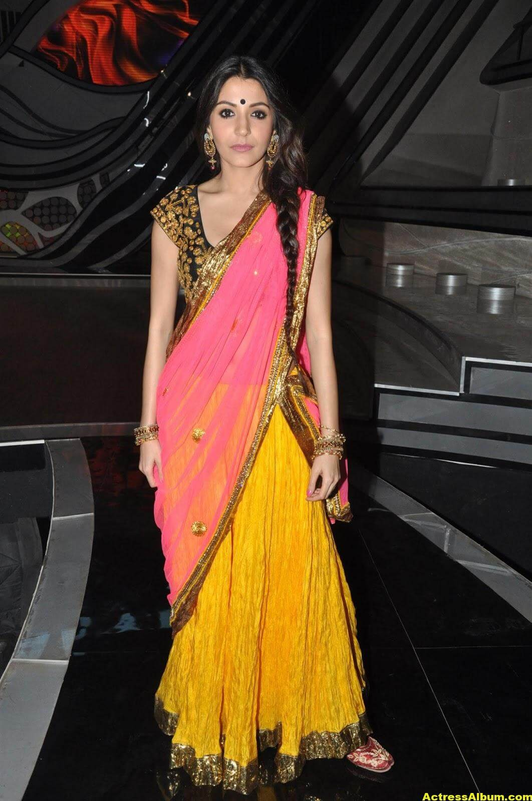 Anushka Sharma Hot Stills In Yellow Half Saree 2