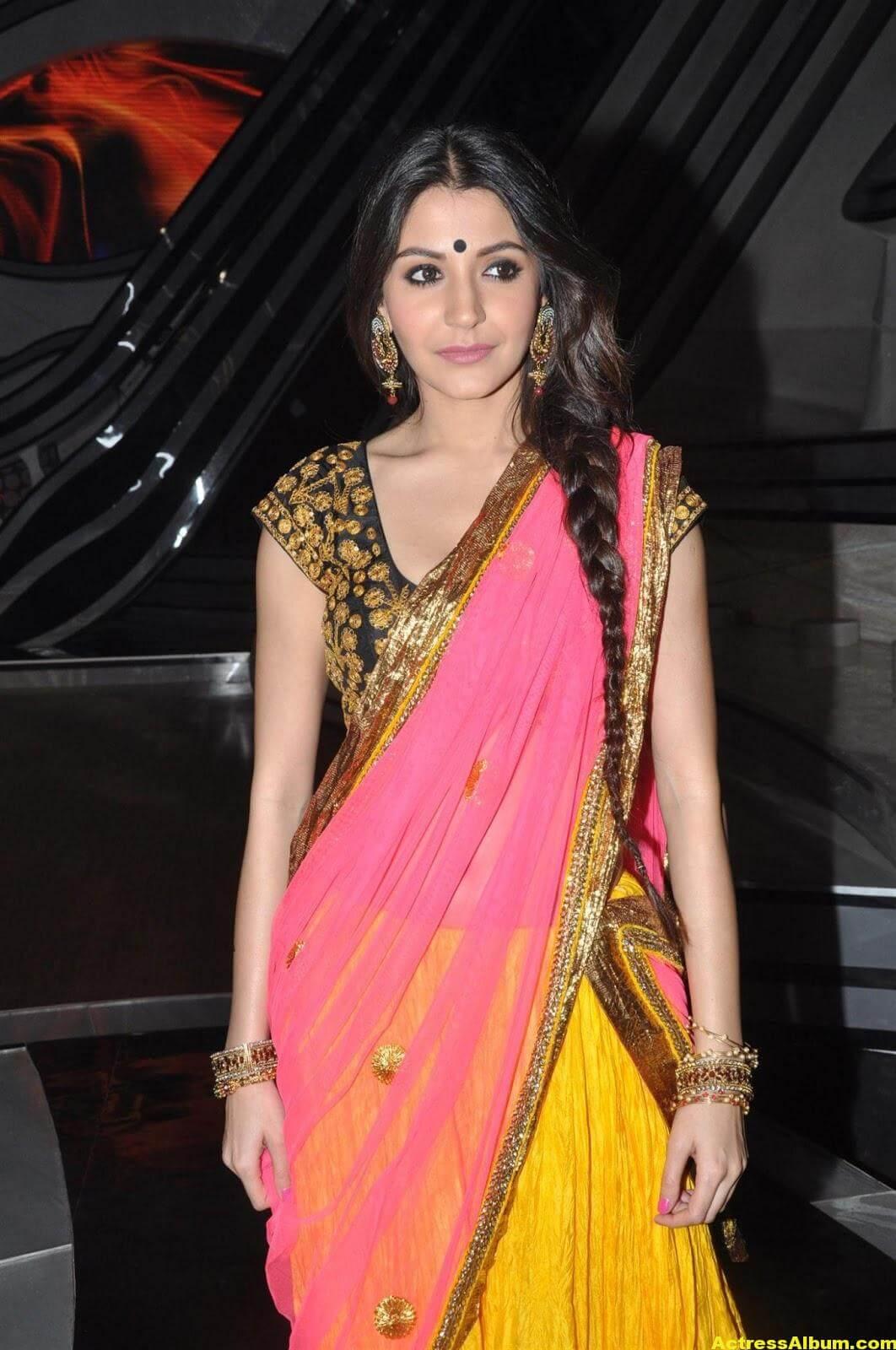 Anushka Sharma Hot Stills In Yellow Half Saree 3