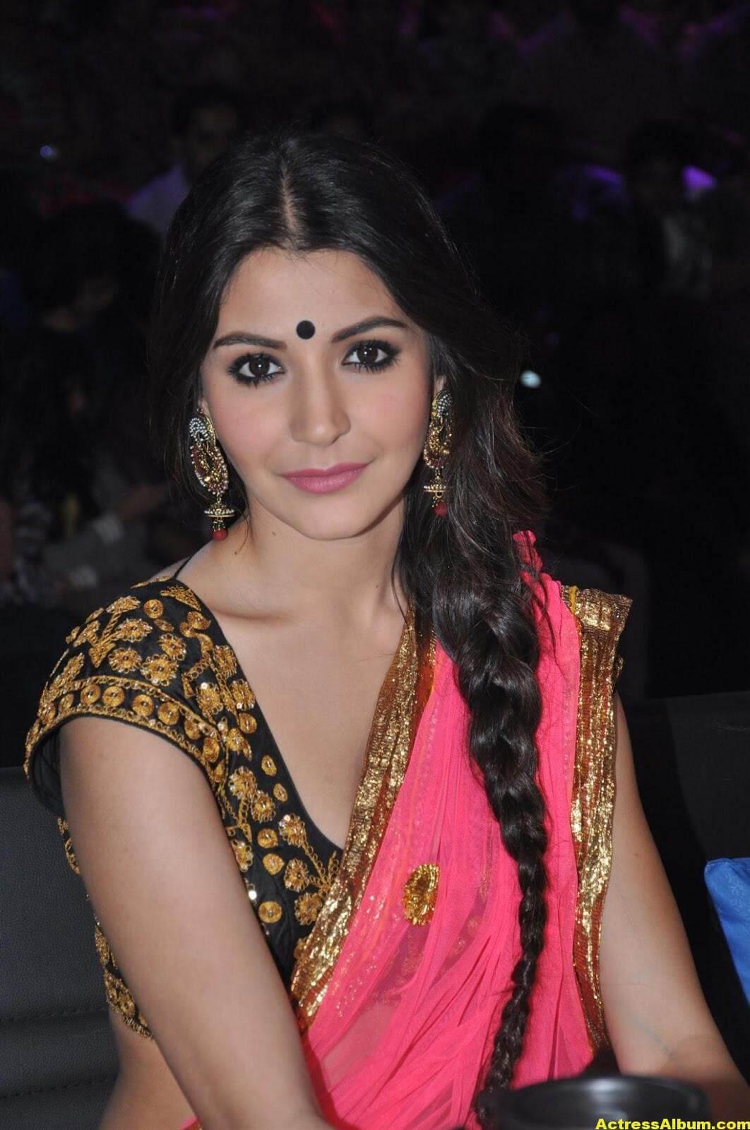 Anushka Sharma Hot Stills In Yellow Half Saree