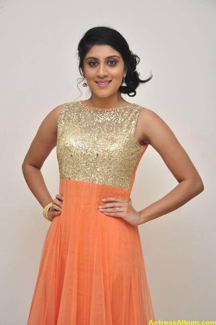 Dhanya Balakrishna Stills In Orange Dress 3
