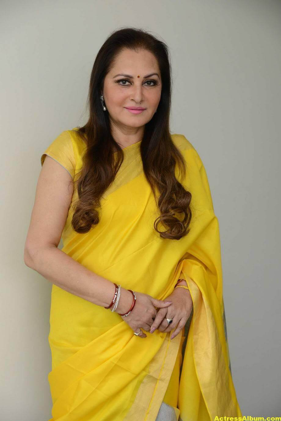 Jaya Prada Latest Cute Photos In Colorful Yellow Saree 2