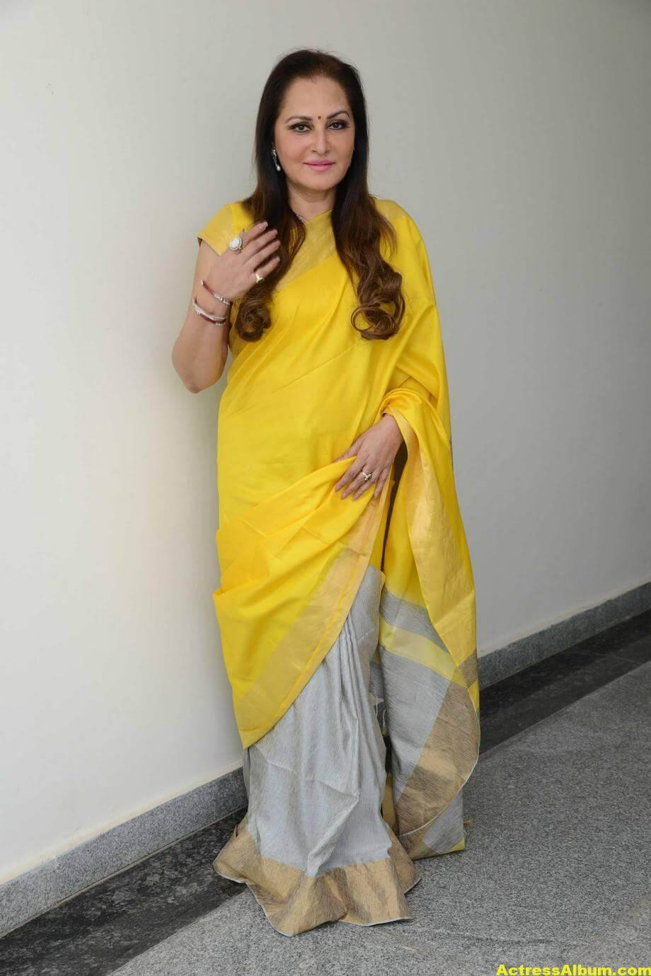 Jaya Prada Latest Cute Photos In Colorful Yellow Saree 3