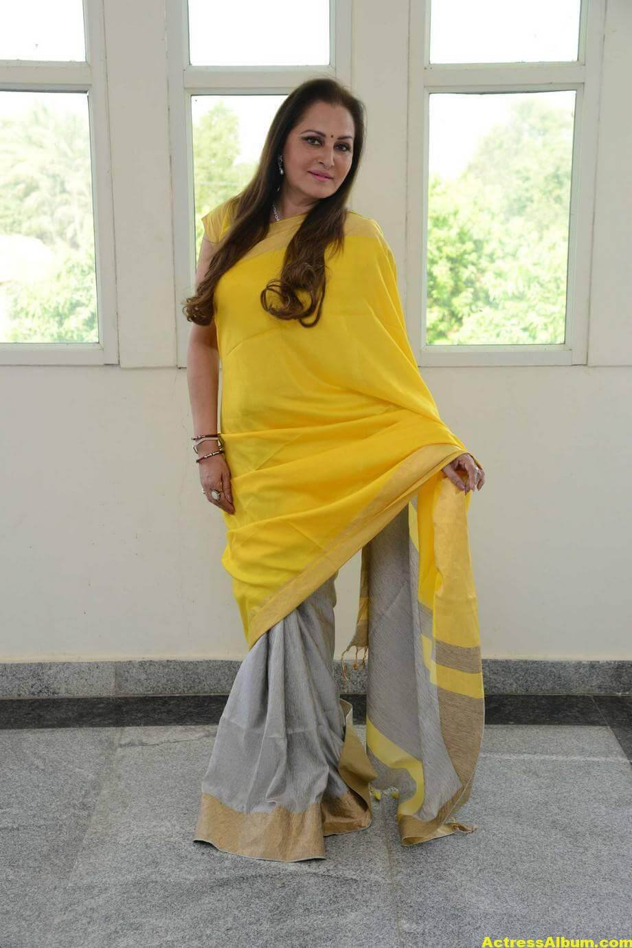 Jaya Prada Latest Cute Photos In Colorful Yellow Saree 4