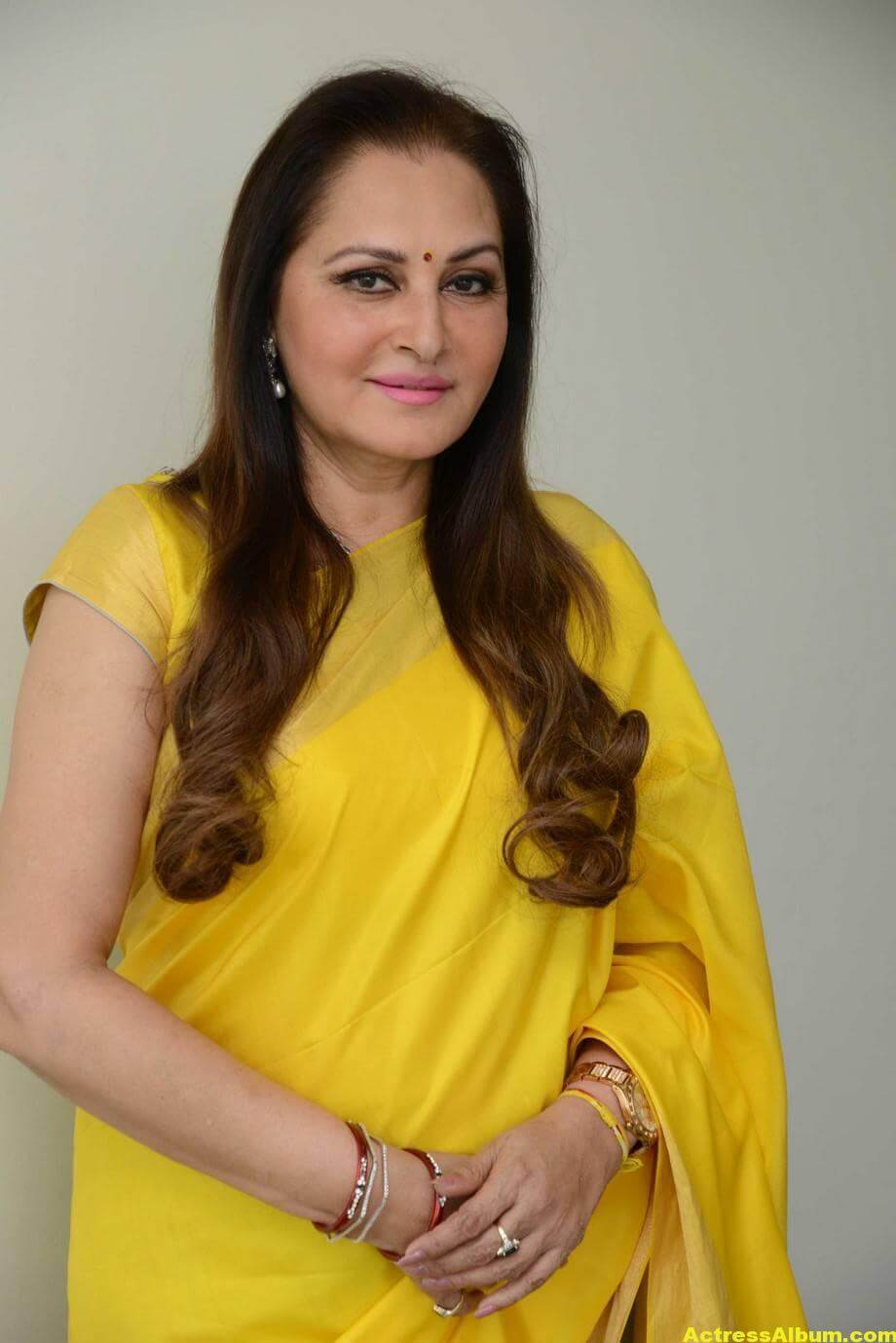 Jaya Prada Latest Cute Photos In Colorful Yellow Saree 5
