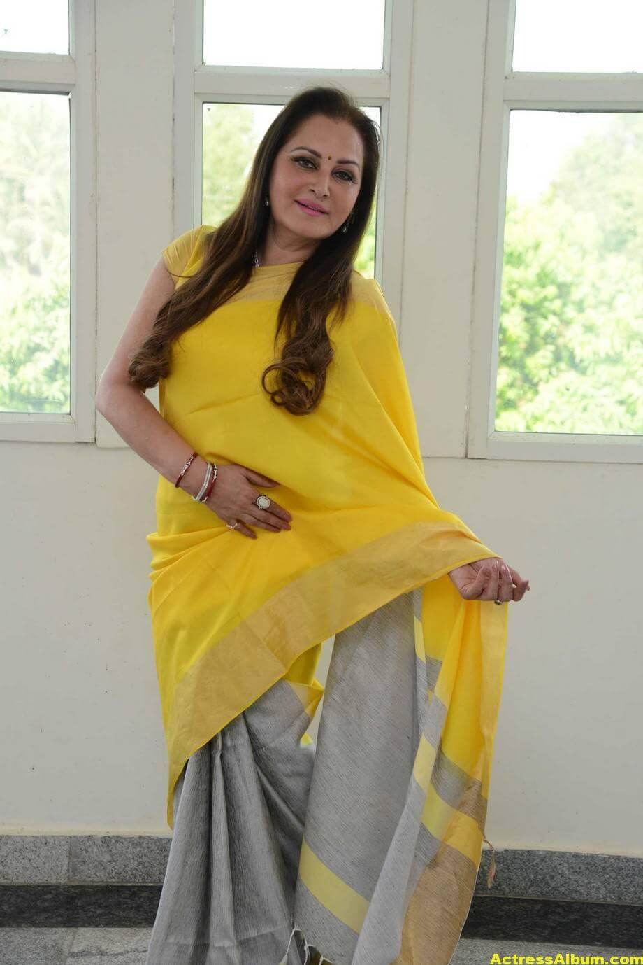 Jaya Prada Latest Cute Photos In Colorful Yellow Saree 6