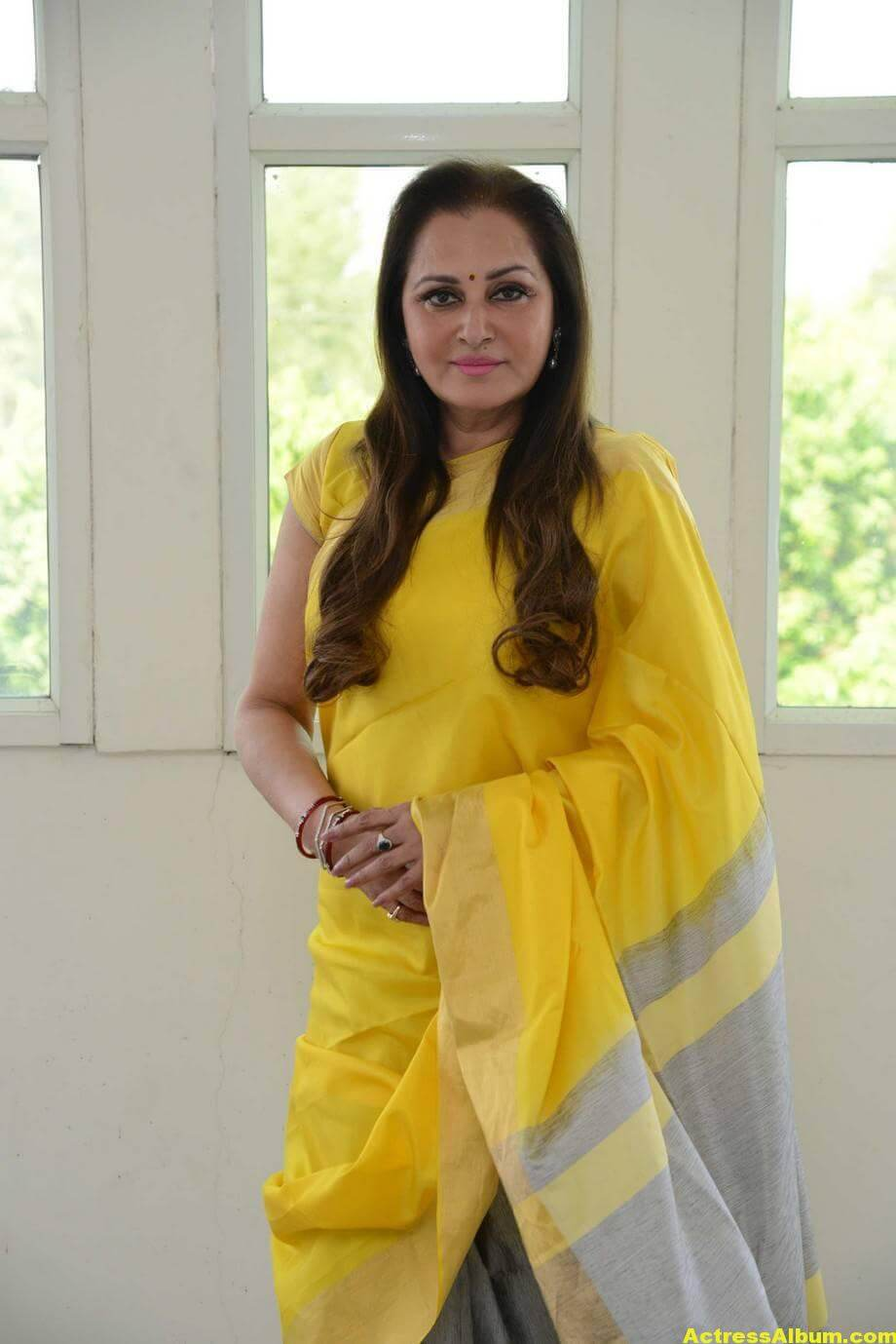 Jaya Prada Latest Cute Photos In Colorful Yellow Saree 7