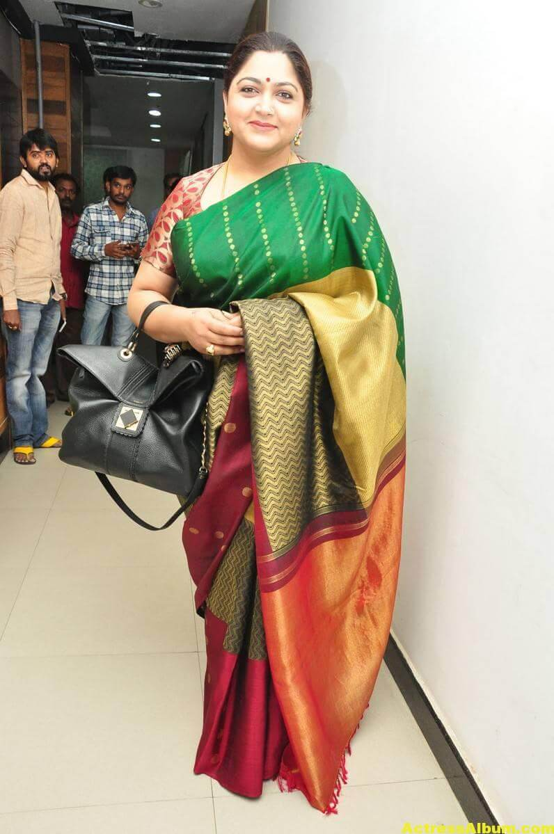 Khushboo Latest Cute Photos In Colorful Green Saree 1