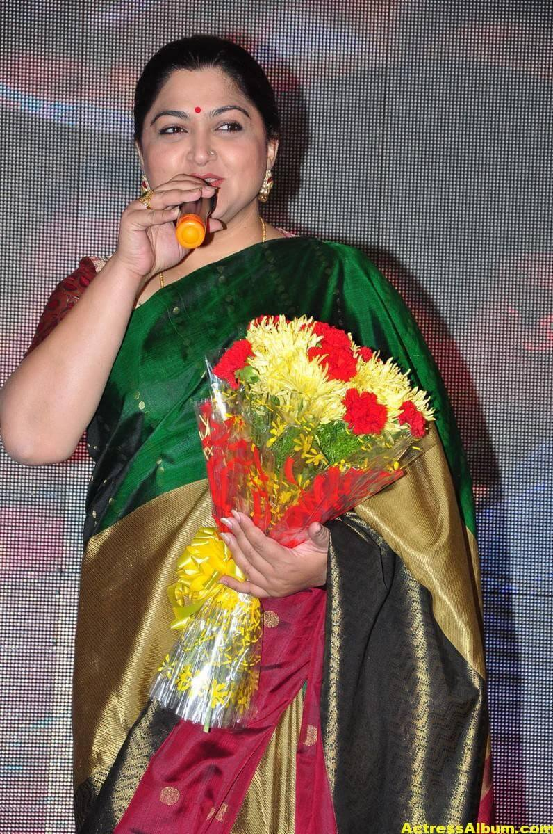Khushboo Latest Cute Photos In Colorful Green Saree 2