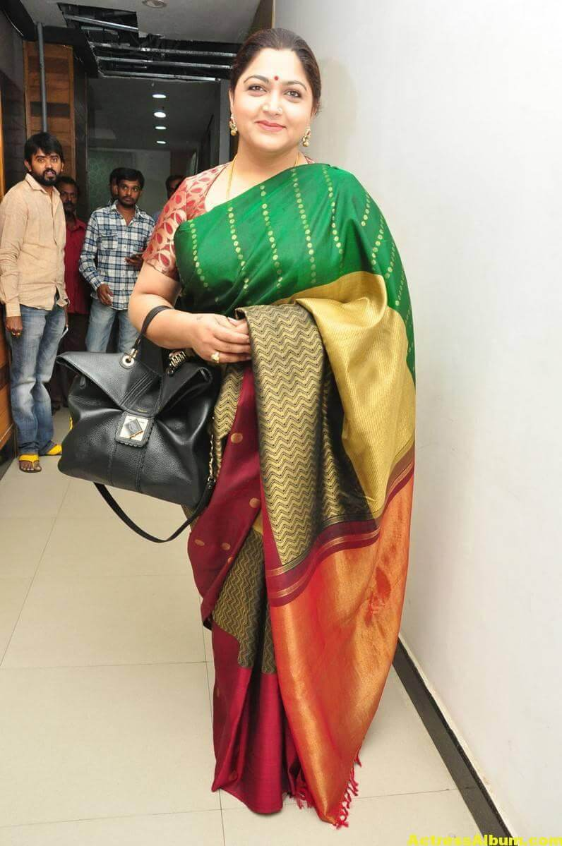 Khushboo Latest Cute Photos In Colorful Green Saree 3