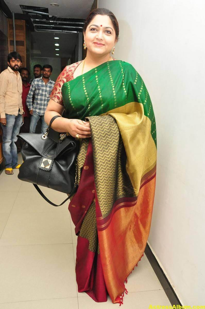 Khushboo Latest Cute Photos In Colorful Green Saree 4