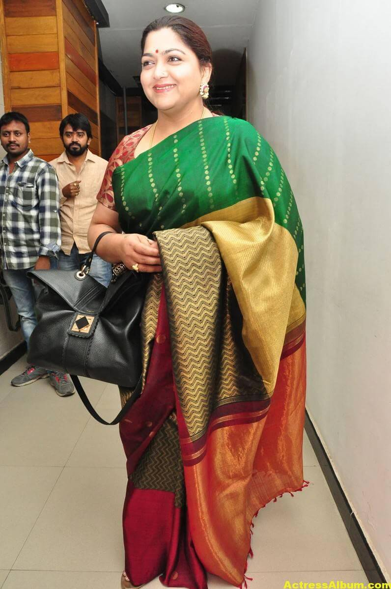 Khushboo Latest Cute Photos In Colorful Green Saree 5