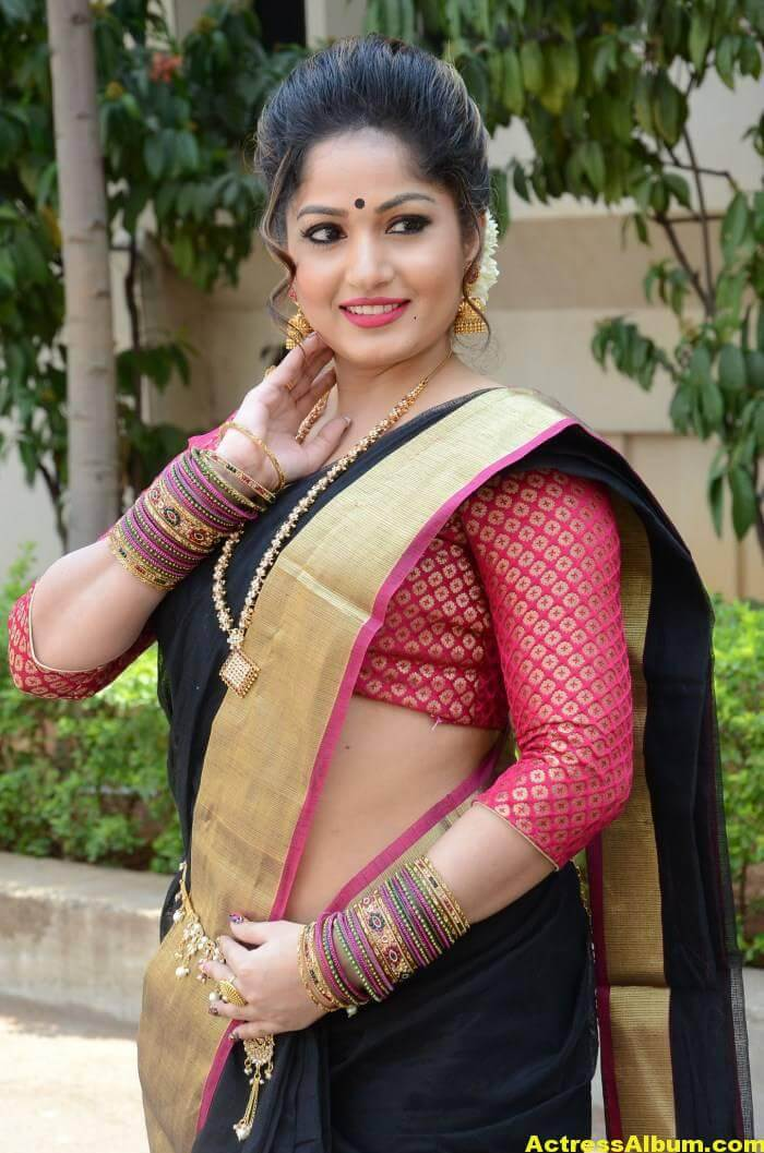 Madhavi Latha Navel Hip Show Stills In Black Saree 1