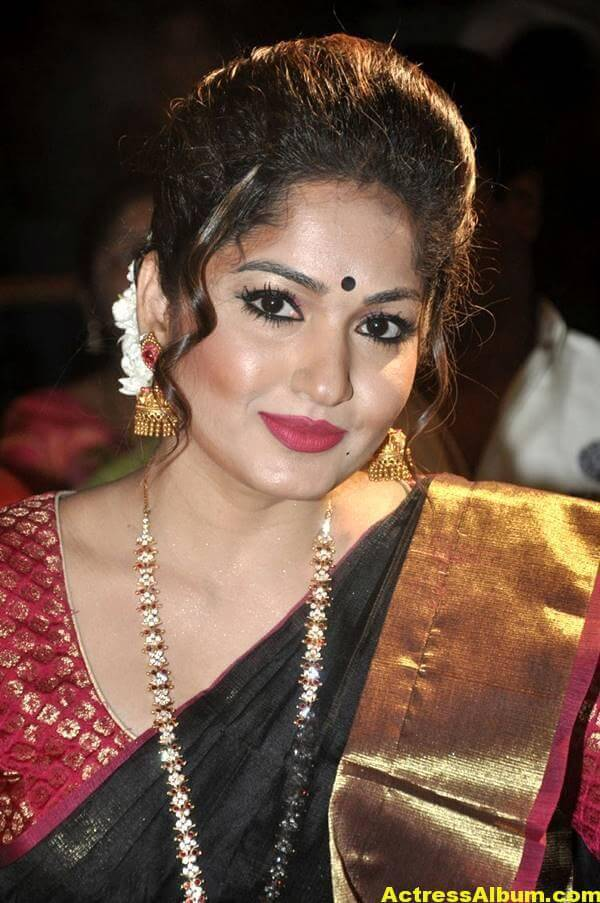 Madhavi Latha Navel Hip Show Stills In Black Saree 8
