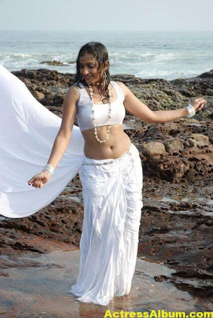 Madhavi Latha Navel Show Photos in White Saree 5